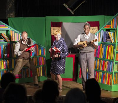 James Hall Kirsty Mead Kimmy Macharia Librarian Lil Family Indoor Theatre Show